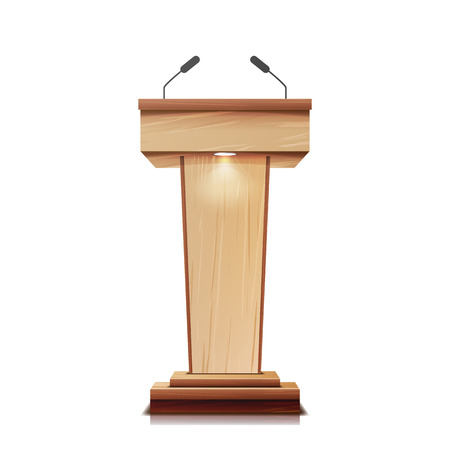 Realistic Wooden Tribune Isolated Vector. With Two Microphones. Wooden Classic Podium Stand Rostrum. Illustration Illustration