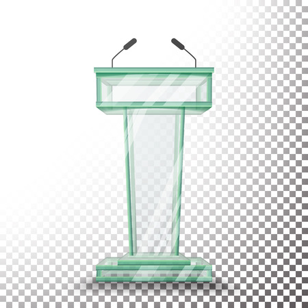 Transparent Glass Podium Tribune Vector. Rostrum Stand With Microphones. Isolated On Transparent Background Illustration.