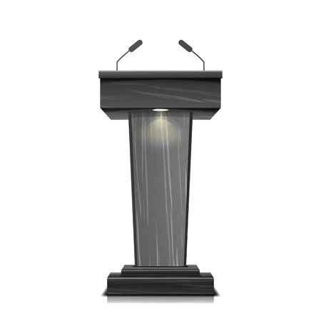 Realistic Wooden Tribune Isolated Vector. With Two Microphones. Dark Wooden Podium Stand Sign Rostrum. Illustration For The Performance Presentation Illustration