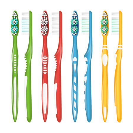 Toothbrush Set Vector. Realistic Plastic Toothbrushes. Different Colors. Top View. Isolated Illustration Ilustração