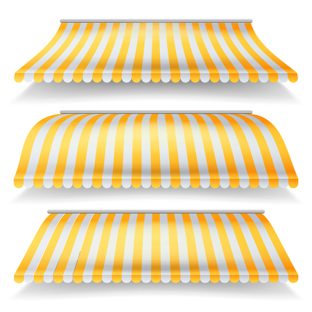 Striped Awnings Vector Set. Large Striped Awnings For Shop And Market Store. Design Element For Shops, Store Front