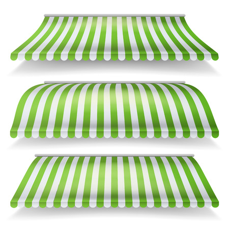 Striped Awnings Vector Set. Large Striped Awnings For Shop And Market Store. Design Element For Shops, Store Front. Isolated Illustration