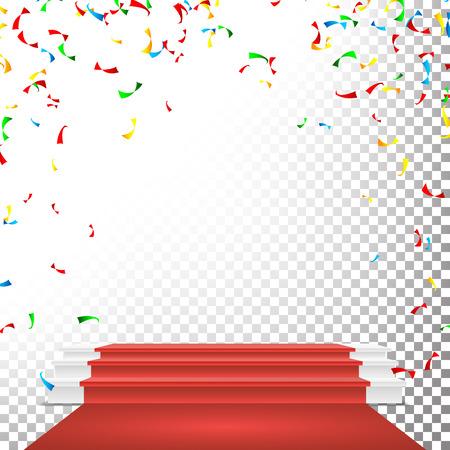Festive Stage Podium Scene Vector. Falling Confetti Explosion. Red Circle Podium. Award Transparent Background Illustration Illustration