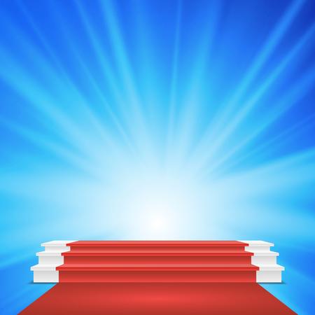 ホワイトウィナーズ表彰のベクトル。レッドカーペット。授賞式のためのステージ。図  イラスト・ベクター素材