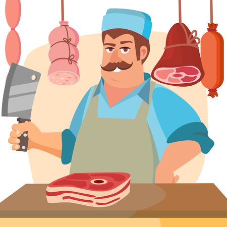 Butcher Character Vector. Classic Professional Butcher Man With Knife. For Steak, Meat Market, Storeroom Advertising Concept. Cartoon Isolated Illustration.