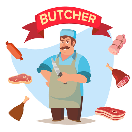peasant: Classic Butcher Vector. Professional Butcher Man With Meat Cleaver. For Meat Market Advertising Concept. Eco Farm Organic Market Meat. Cartoon Isolated Illustration.