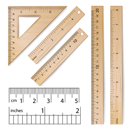 mathematics: School Rulers Vector. Realistic Classic Wooden Metric Imperial Ruler. Centimeter And Inch. Measure Tools Equipment Isolated On White Illustration