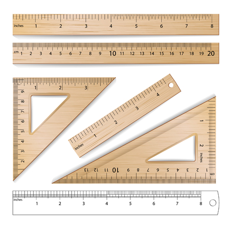 mathematics: Wooden Rulers Set Vector. Metric Imperial. Centimeter, Inch. Classic Education Measure Tools Equipment Illustration Isolated On White Background.