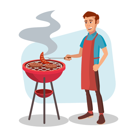 BBQ Cooking Vector. Man Cook Grill Meat On Bbq. Isolated Flat Cartoon Character Illustration