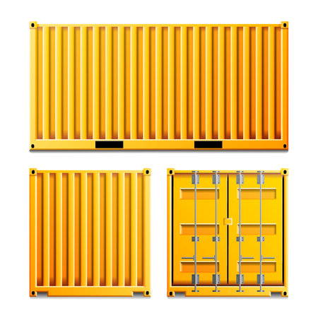 Cargo Container Vector. Classic Cargo Container. Freight Shipping Concept. Logistics, Transportation Mock Up. Front And Back Sides. Isolated On White Background Illustration Stock Vector - 85718547