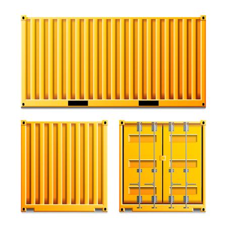 Cargo Container Vector. Klassieke vrachtcontainer. Vrachtvervoersconcept. Logistiek, Transport Mock Up. Voor- en achterkant kanten. Geïsoleerd op witte achtergrond illustratie