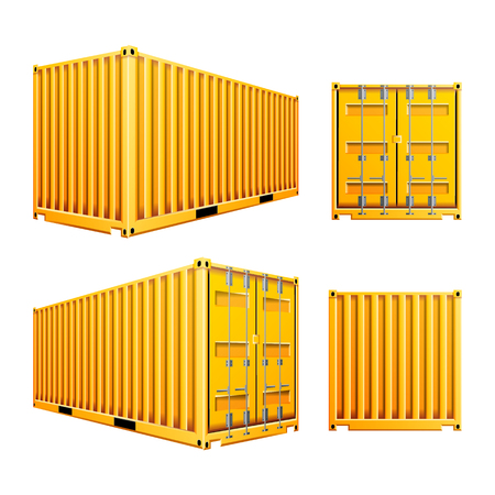 Yellow 3D Cargo Container Vector. Realistic Metal Classic Cargo Container. Freight Shipping Concept. Logistics, Transportation Mock Up. Isolated On White Background Illustration 向量圖像