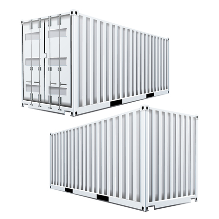 heavy metal: White Cargo Container 3D Vector. Classic Cargo Container. Freight Shipping Concept. Logistics. Isolated On White Background Illustration