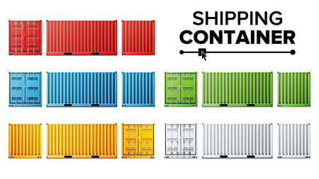 Shipping Cargo Container Set Vector. Freight Shipping Container Concept. Logistics, Transportation. Isolated On White Background Illustration