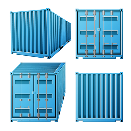 Blue Cargo Container Vector. Realistic 3D Metal Classic Cargo Container. Freight Shipping Concept. Transportation Mock Up. Isolated On White Illustration Illustration
