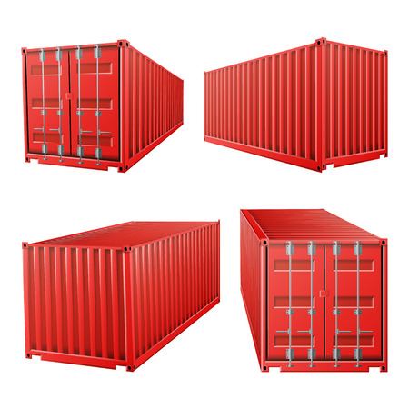 3D Red Cargo Container Vector. Classic Cargo Container. Freight Shipping Concept. Logistics, Transportation Mock Up. Isolated On White Background Illustration
