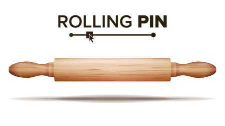 Wooden Rolling Pin Vector. Bakery Concept. Isolated Illustration
