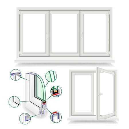 Plastic Window Vector. Infographic Template. Plastic Window Frame Profile. Isolated Illustration