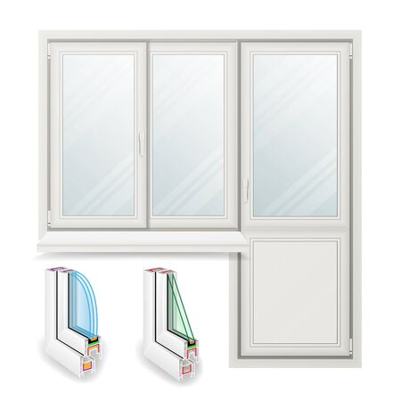 rabbet: Plastic Window Vector. Opened Door. Home White Window Design Concept. Isolated On White Background Illustration
