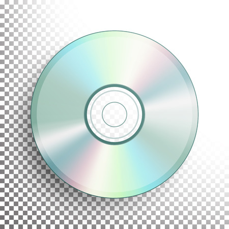DVD Disc Vector. Realistic Compact CD Disc Mock Up Isolated On Transparent Background. Music Plastic Sound Data. Video Blue-ray, Information Medium Illustration