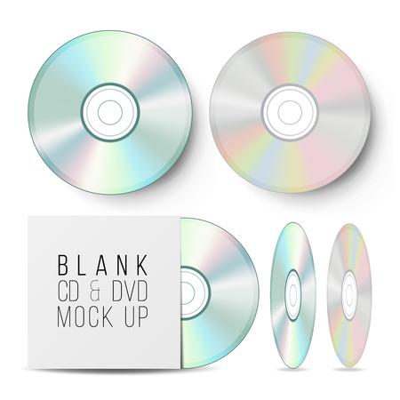 CD Disc Set Vector. Realistico Mock Up con custodia per DVD. Compact Disc vuoto. Musica in plastica dati audio. Video Blu-ray, informazioni medie isolate