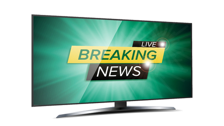 defuse: Breaking News Live Background Vector. Green TV Screen. Business Banner Design Template. Isolated On White Illustration