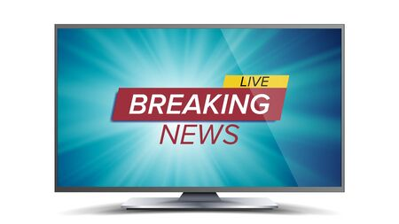 Breaking News Vector. Blue TV Screen. World Global News Concept. Isolated Illustration Illustration
