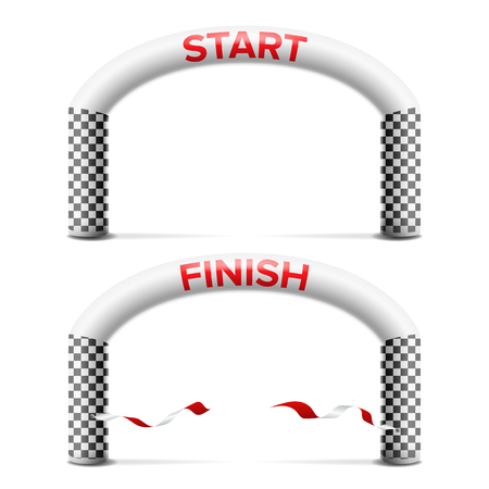 3D Start, Finish Line Arch Vector. Outdoor Sport Events Competition Concept. Isolated Illustration
