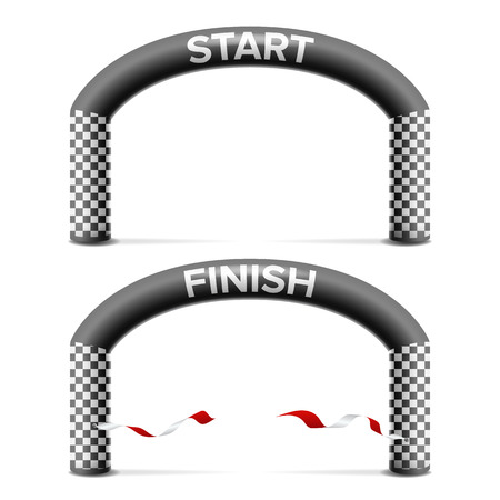 Finish, Start Line Arch Isolated Vector. Sport Event. Triathlon, Skiing, Marathon Racing Concept. Isolated On White Illustration Illustration