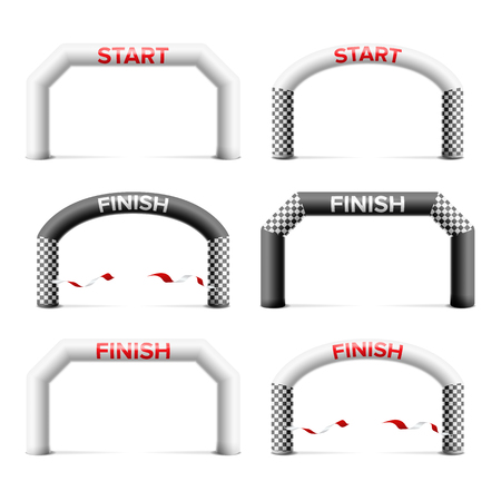 Inflatable Arch Set Isolated Vector. Place For Sponsors Advertising. Archway, Suitable For Sport Event. Marathon Racing Concept. Isolated Illustration