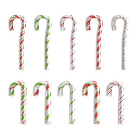 Vector Realistic Lollipop Christmas Candy Cane Isolated On White