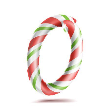 numeric: 0, Number Zero Vector. 3D Number Sign. Figure 0 In Christmas Colours. Red, White, Green Striped. Classic Xmas Mint Hard Candy Cane. New Year Design. Isolated On White Illustration Illustration