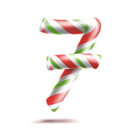 numeric: 7, Number Seven Vector. 3D Number Sign. Figure 7 In Christmas Colours. Red, White, Green Striped. Classic Xmas Mint Hard Candy Cane. New Year Design. Isolated On White Illustration
