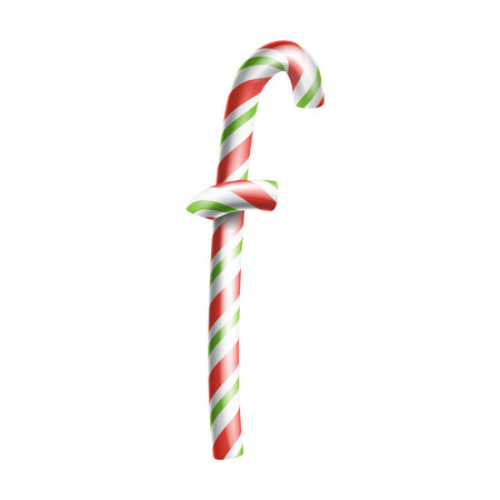 Letter F Vector D Realistic Candy Cane Alphabet Symbol In