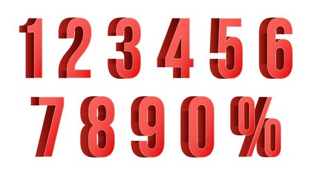 5.0: 3D Red Discount Numbers Vector. Percent. Numbers From 0 to 9. Percentage Icon Set In 3D Style. Isolated On white Illustration