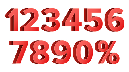 5.0: Red Discount Numbers Set Vector. Figures From 0 to 9. Sign Of Percent. Isolated Illustration