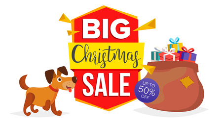 Christmas Dog Sale Banner Template Vector. Holidays Sale Announcement. Isolated On White Illustration