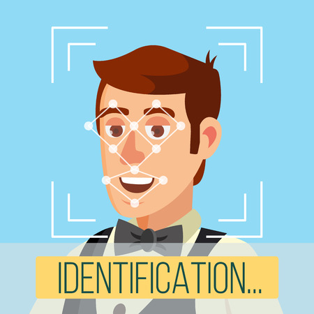 Biometric Face Identification Vector. Human Face With Polygons And Points. Safety Scan Illustration