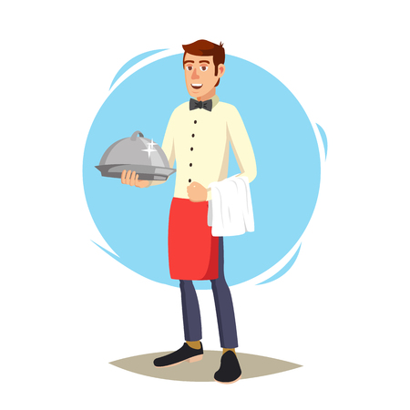 Waiter In Cafe Vector. Professional Waiter. Dinner Date. Food, Drink Concept. Isolated On White Cartoon Character Illustration Illustration