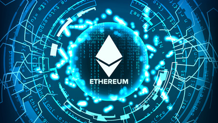Ethereum Abstract Technology Background Vector. Binary Code. Fintech Blockchain. Cryptography. Cryptocurrency Mining Concept Illustration