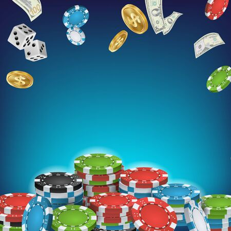 Online Casino Poster Vector. Poker Gambling Casino Sign. Bright Chips, Flying Dollar Coins, Banknotes Explosion. Winner Concept. Jackpot Billboard, Marketing Luxury Illustration.