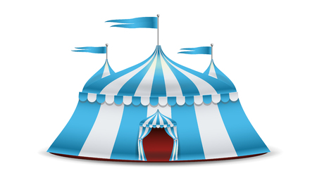 Cartoon Circus Tent Vector. Blue And White Stripes. Funfair, Carnival Holidays Concept Illustration