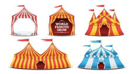 park: Circus Tent Set Vector. Multicolored Funfair, Carnival Holidays Concept. Illustration