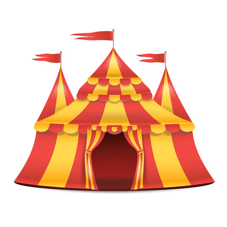 park: Realistic Circus Tent Vector. Red And Yellow Stripes. Cartoon Big Top Circus Tent Illustration Illustration