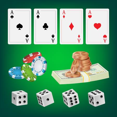 privilege: Poker Design Elements Vector. Chips, Money Stacks, Playing Gambling Cards. Royal Fortune Club Concept. Illustration Illustration