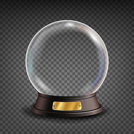 soothsayer: Empty Snow Globe Vector. Shadows, Reflection And Lights. Glass Sphere On A Stand. Isolated On Transparent Background Illustration