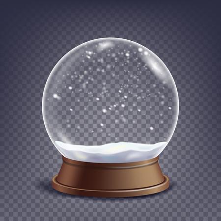 Natale vuoto Snow Globe vettoriale. Winter Christmas Design Element.Glass Sphere On A Stand. Isolato sull'illustrazione trasparente della priorità bassa