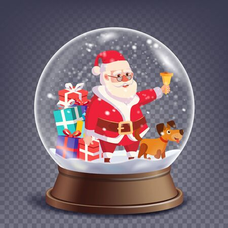 Xmas Empty Snow Globe Vector. Santa Claus Ringing Bell And Smiling. Winter Christmas Design Element. Glass Sphere On A Stand. Isolated On Transparent Background Illustration