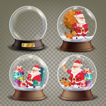 reflection: Christmas Snow Globe With Santa Claus And Gifts Vector. Realistic 3d Snow Globe Toy. Winter Xmas Design Element. Isolated On Transparent Background Illustration Illustration