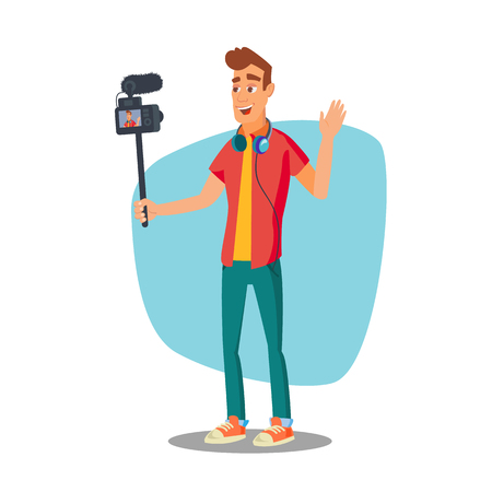 camera film: Video Blogger Vector. Lifestyle Video Clip Shooting Process. Shooting Video Process. Isolated Flat Cartoon Character Illustration